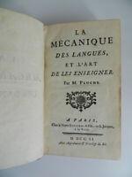 La mécanique des langues et l'art de les enseigner PLUCHE Veuve Estienne 1751 EO
