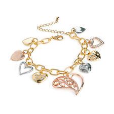 Three Tone Rose Gold Heart Charm Bracelet Ladies Fashion Jewellery Gift