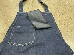Vintage 60s Denim Jean Apron Work Chore One Pocket Blue Indigo