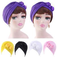 Women India Cancer Flower Ruffle Turban Muslim Hijab Headwear Chemo Hat Cap Lady