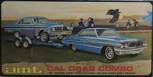 CAL DRAG COMBO GALAXIE, FALCON AND TRAILER AMT 1:25 SCALE PLASTIC MODEL CAR  KIT