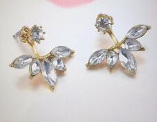 Gold Plated Leave Crystal Stud Earrings Fashion Womens