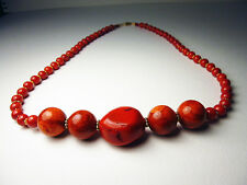 Wonderful Antique Red coral and 14k gold bead necklace with 14k GF clasp