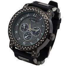 Mens Black Case 2line Cz Iced Hip Hop Fashion Black Silicone Quartz Wrist  Watch