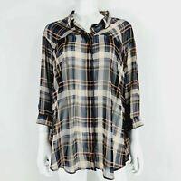 Next UK 20 Check Plaid Shirt / Blouse Navy Beige