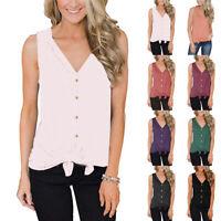 Womens Summer Tank Top Sleeveless Vest T Shirt Casual Loose Tops Blouse Shirts