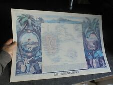 42x62cm La Guadeloupe V Levasseur Géographe & Burty Retirage Pélissier Editeur