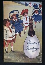 Tuck ~Bunny Rabbit Sitting on Egg with Children~Antique~Easter Postcard-b891