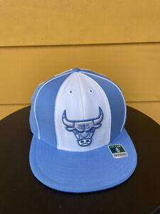 NEW REEBOK CHICAGO BULLS FITTED HAT CAP RETIRED LOGO NBA HEADWEAR BLUE