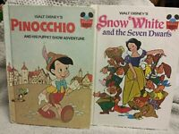 Lot of 2 Walt Disney Young Reader Hard Cover Books ~ PINOCCHIO ~ SNOW WHITE 1973