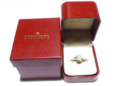 MINT MIKIMOTO 18K YELLOW GOLD 7mm PEARL & DIAMOND WOMENS RING SIZE 6.25