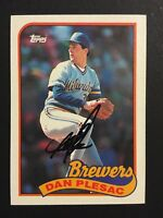 Dan Plesac Brewers Signed 1989 Topps baseball Card #740 Auto Autograph 2