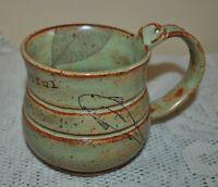 HANDMADE Pottery Ceramic Mug YOU ARE BEAUTIFUL Leave Fish  OOAK