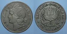 REPUBBLICA DOMINICANA RARO 1 PESO 1897 A BB+