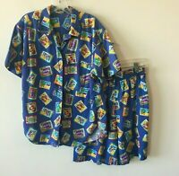 Hawaiian Cabana Pool Shirt & Shorts Set Vintage 1970's Hawaii Men's Medium M