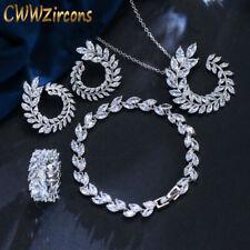 Cubic Zirconia Marquise Cut Olive Branch Leaf Necklace Bracelet 4pcs Jewelry Set