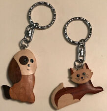 Dog & Cat Keychains Wood Silver Tone Set His & Hers