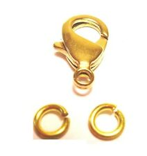 12 MM BRASS Lobster Clasp Pkg.of 50 +100 / 5 MM Jump Rings(Natural Solid Brass)
