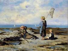 Pintura Paisaje niños playa rocosa primicias Mornard Francia Arte Cartel CC6593