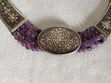 Jugendstil Set 925 Silber Collier Armband Ohrringe Amethysten