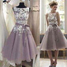 Elegant Lace Short A Line Cocktail Prom Evening Gowns Party Bridesmaid Dresses