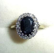 Grandi Oro 9 Carati Sapphire & DIAMOND RING, taglia M