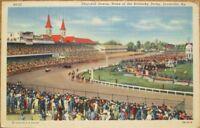 Louisville, KY 1940s Linen Postcard: Churchill Downs, Home of the Kentucky Derby