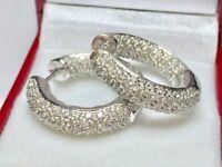 1.50Ct Round Brilliant Cut Diamond Vintage Hoop Earrings 14K White Gold Finish
