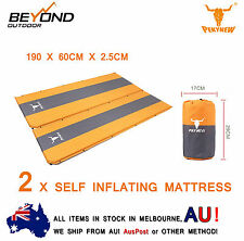 NEW 2 X Self Inflating Mattress Sleeping Mat Bed Camping Hiking Joinable