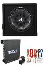 "New KICKER 43VC124 12"" 300W Car Audio Subwoofer +Sub Box +Boss Mono Amp +Amp Kit"