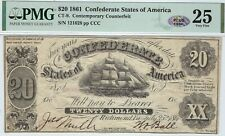 CT-9 29B 1861 $20 Contemporary Counterfeit Confederate Paper Money - PMG 25 PLUS