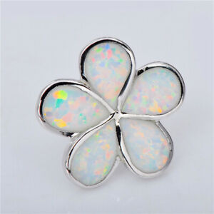 Beautiful Flower Silver Filled White Simulated Opal Drop Earring Wedding Jewelry