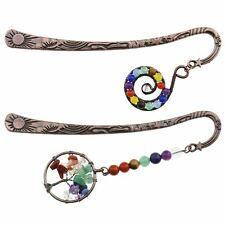 More details for 2pcs antique copper bookmarks 7 chakra beaded tree of life & spiral charm