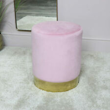 Pink velvet upholstered stool bedroom boudoir seating girly furniture seat