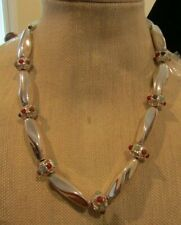 Liz Claiborne Silvertone Tubular and Round Bead necklace with colorful accents