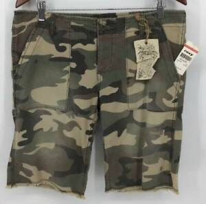 ROXY Shorts Junior 13 Green Denim Camo Vintage Bermuda Button Women New B5