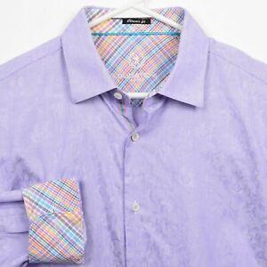 Bugatchi Uomo Men's Large Classic Fit Flip Cuff Purple Floral Colorful Shirt