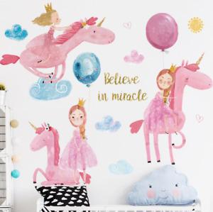 Wall Stickers Unicorn Princess Balloons Removable Decor Kids Nursery DIY Gift