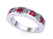 Natural 7Stone Ruby Diamond Channel Set Wedding Band 18k White Gold AAAA F VS2