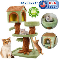 "41"" Cat Tree Kitten Activity Tower Furniture Room Condo Scratching Posts Ladder"