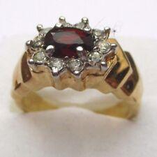 bague de fiançailles bijou vintage plaqué or zircon diamant grenat Taille 58