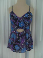 FREE PEOPLE Floral Midnight  Peplum Cut-Out Halter Top Shirt Size S NWT $78.00