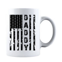 Daddy Vintage American Flag Mug for Family and Friends Ceramic Coffee Mug White
