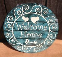 Welcome Home Heart Key Round Sign Vintage Garage Bar Decor Old Rustic