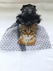 Halloween scull top hat fur trim black mesh veil dog / cat chin strap