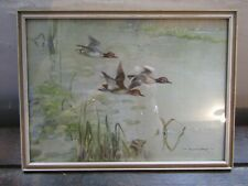 Vintage - Vernon Ward - Print - Mallards Over The Stream - Original Frame - 1946