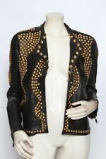 GIVENCHY Black Leather Gold Studded Biker Motorcycle Coat Jacket 42 US 8 M