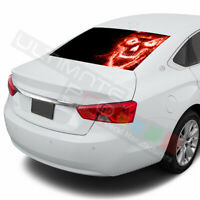 Skulls designs Rear Window See Thru Stickers Perforated for Chevrolet Impala
