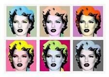 "BANKSY Kate Moss Warhol Style QUALITY *FRAMED* CANVAS ART 16""X 12"" Pop -"