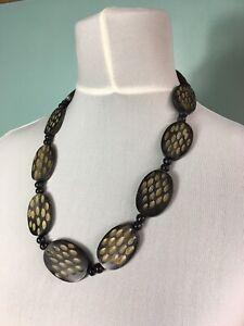 Vintage Necklaces Costume Jewellery Statement Blogger Bead Domino Black Resin